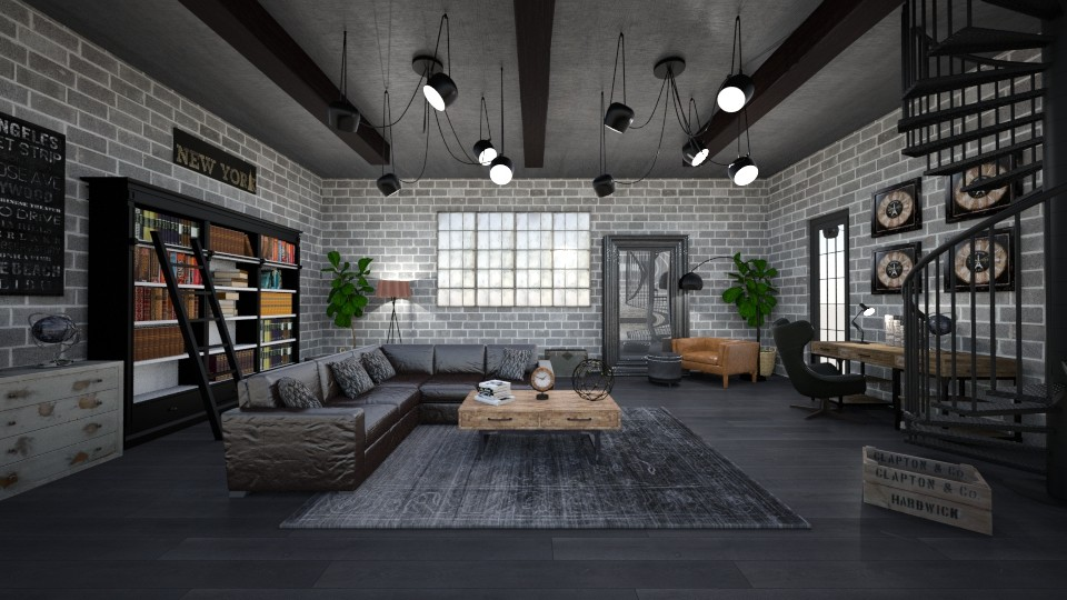 INDUSTRIAL OFFICE - Masculine - Living room  - by RS Designs