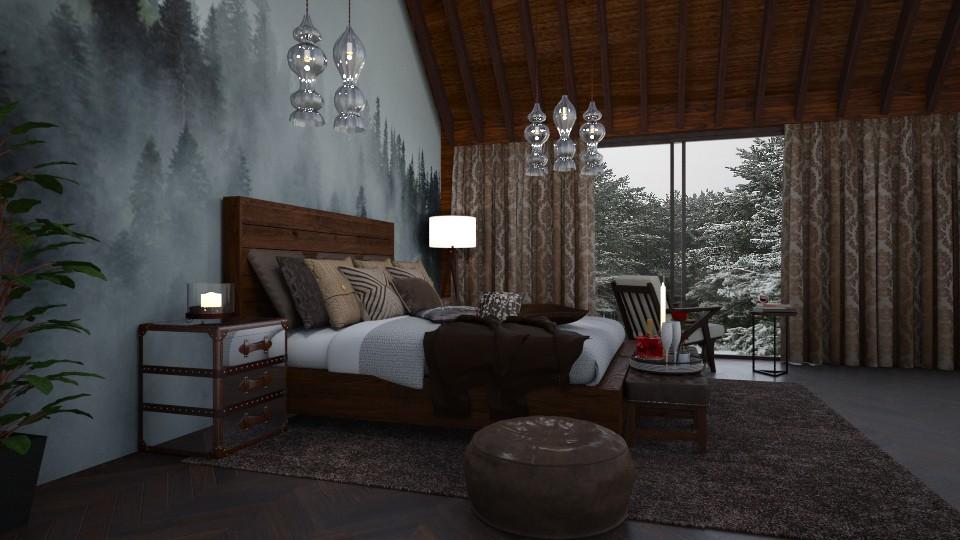 Dark and Rustic - Bedroom - by Nina Colin