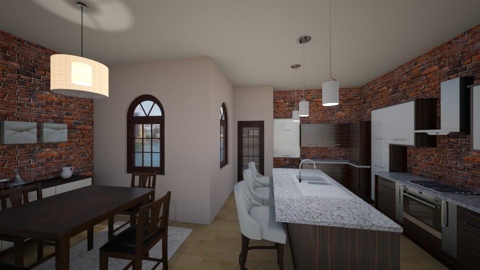 Modern Brick Kitchen - Modern - Kitchen - by pfeilswdm