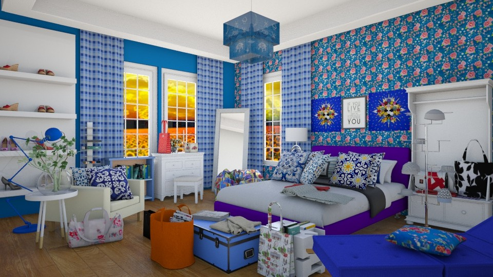blue bedroom - Bedroom - by sarasepideh