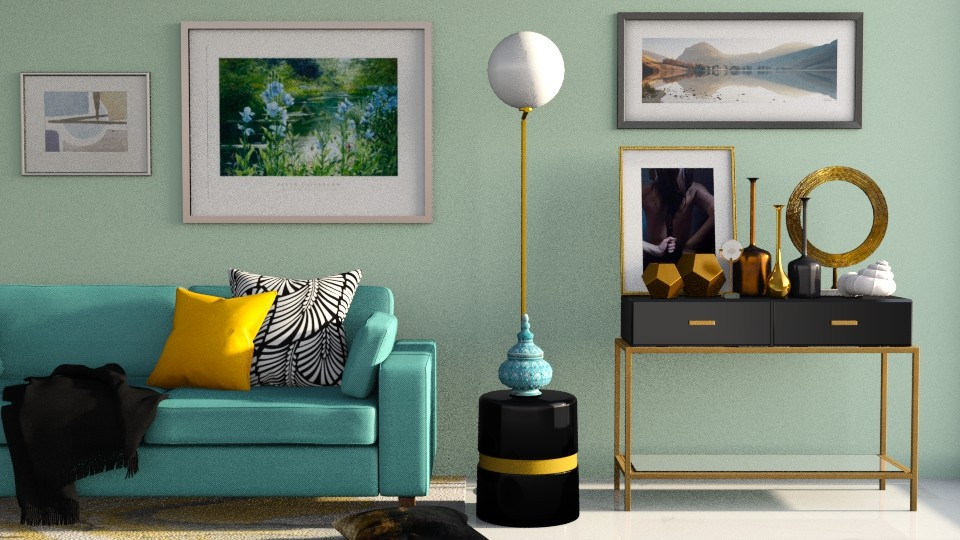 salon turquoise 2  - Modern - Living room  - by rimanina