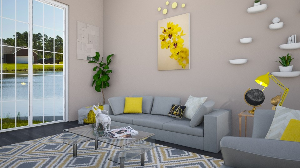 yellow - Living room - by areejkwaik