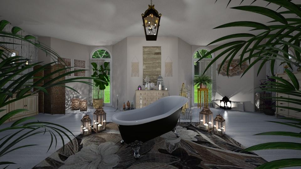 Bohemian bath - by Interiors by Laura