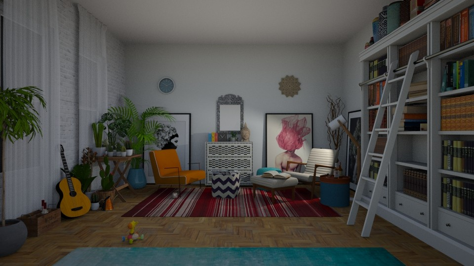 Boho living room and library evening - Living room - by RHD