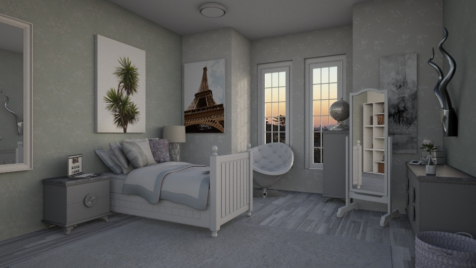 gray - Glamour - Bedroom - by kshmvg