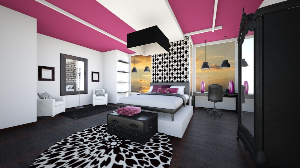 Black and white - Bedroom - by Addie Smooches