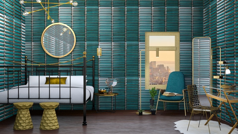 Turquoise_and_Metal_Bed - Modern - Bedroom - by helsewhi