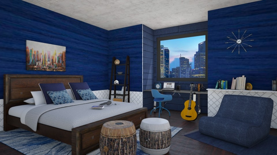 blue chic bedroom - Bedroom - by pingbubbles