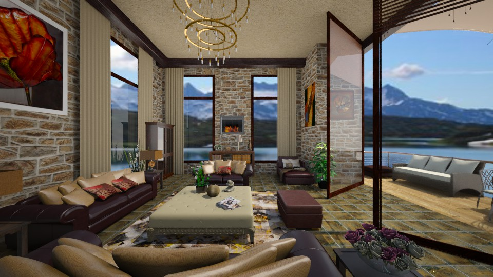 Leather and Stone - Living room - by Linda Koen_326