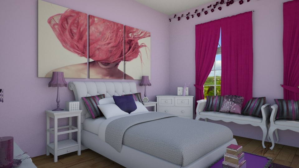 purple  - Feminine - Bedroom - by pinklilith