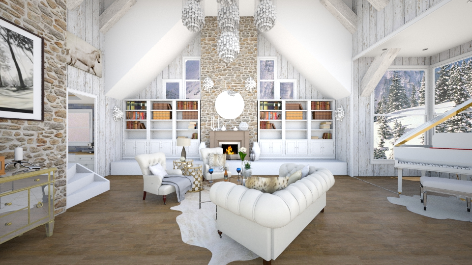 Winter Forest House - Rustic - Living room - by JRem224