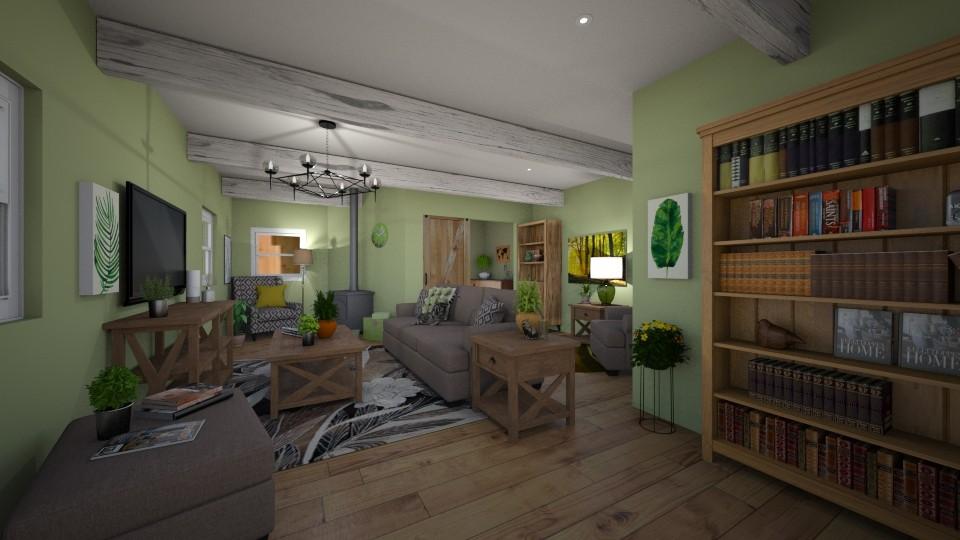 Green Living Room - Living room - by chocolatedonut71