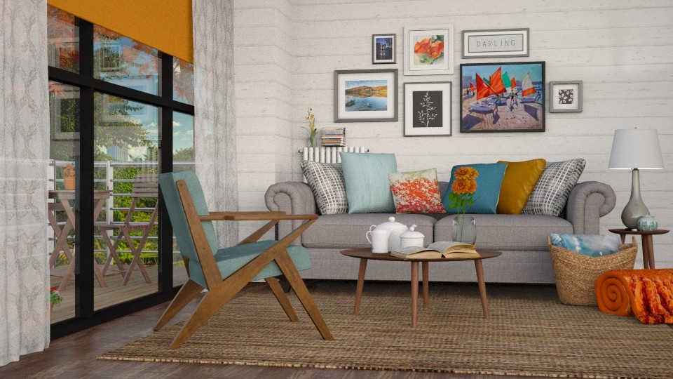 orange and blue - Living room - by pandajoy