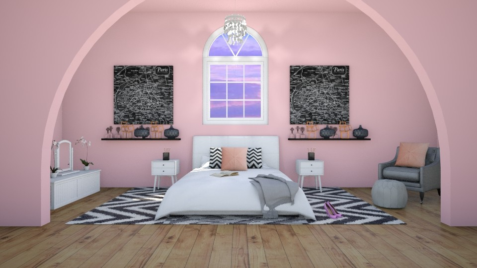 Girl in Paris - Glamour - Bedroom - by artist3568