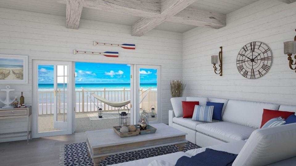 Beach Hut - Rustic - Living room  - by Samantha Krug