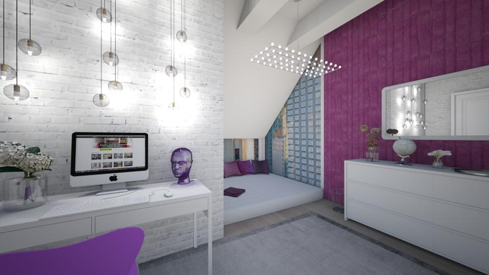 Purple Attic Bedroom - Bedroom - by LaughingDonut