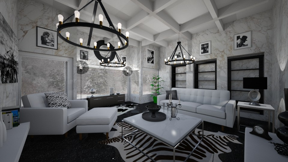 Black and White Fancy - Bedroom - by PenAndPaper