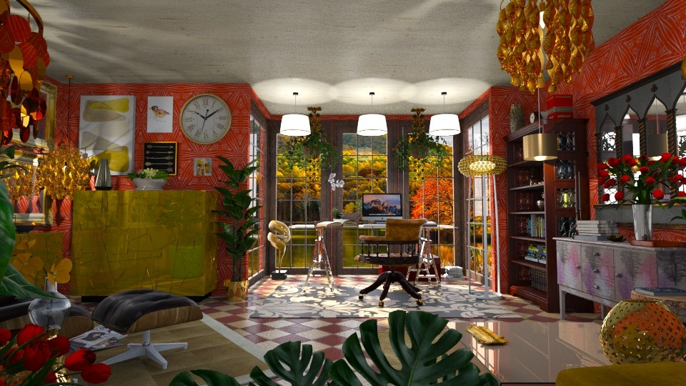 Golden Autumn Lake - Eclectic - Office - by LuzMa HL