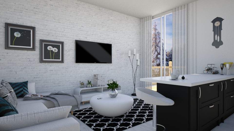 White winter peace - Living room - by agapka