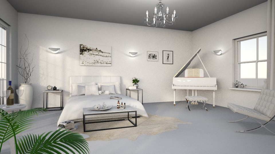 white bedroom - by TaeBlossom