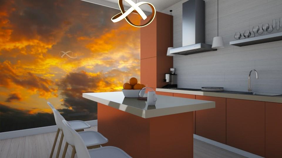 Orange Kitchen  - Kitchen - by CatsFurLife