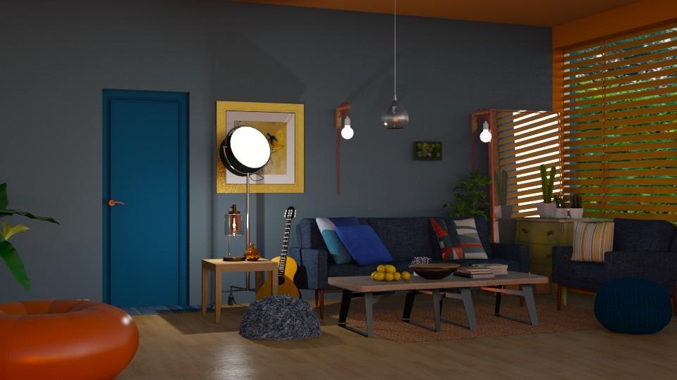 Blauw en oranje - Living room - by kolibrie_designer