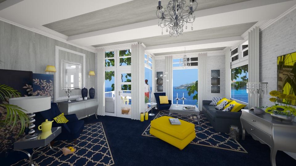 Blue & Yellow App. - Feminine - Living room - by yarah