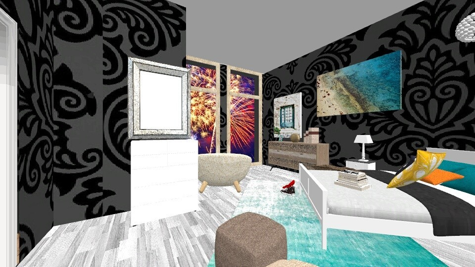 Fireworks at the Beach - Bedroom - by Kaitlyn Z