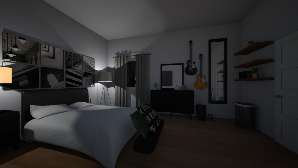 dark bedroom unfinished - Modern - Bedroom  - by salisha222