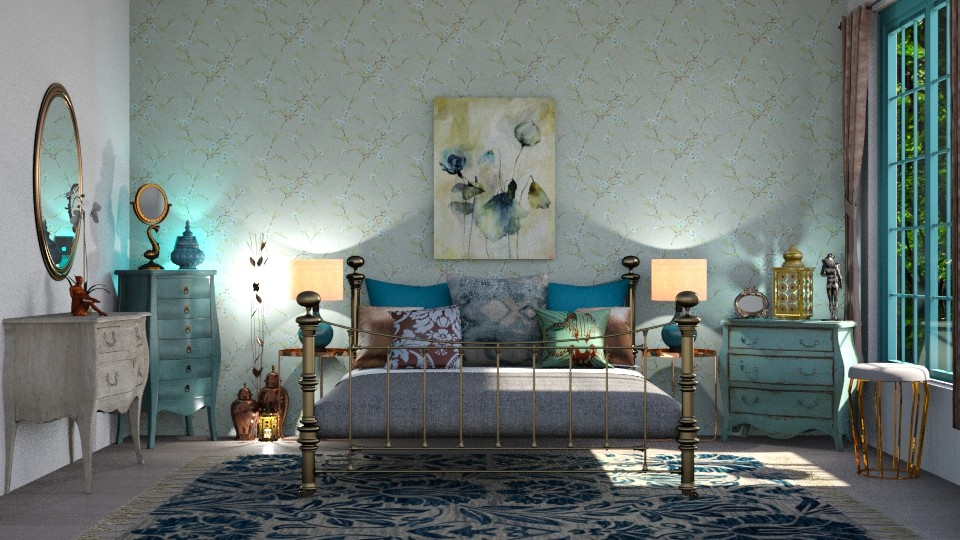Turquoise and Metal BR - Country - Bedroom - by  krc60
