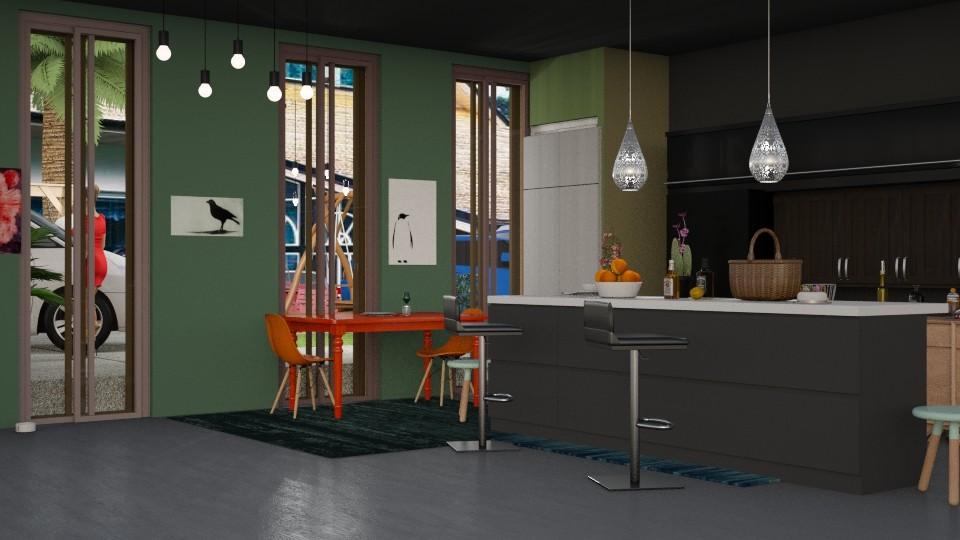 Keuken in donkere kleuren - Kitchen - by kolibrie_designer