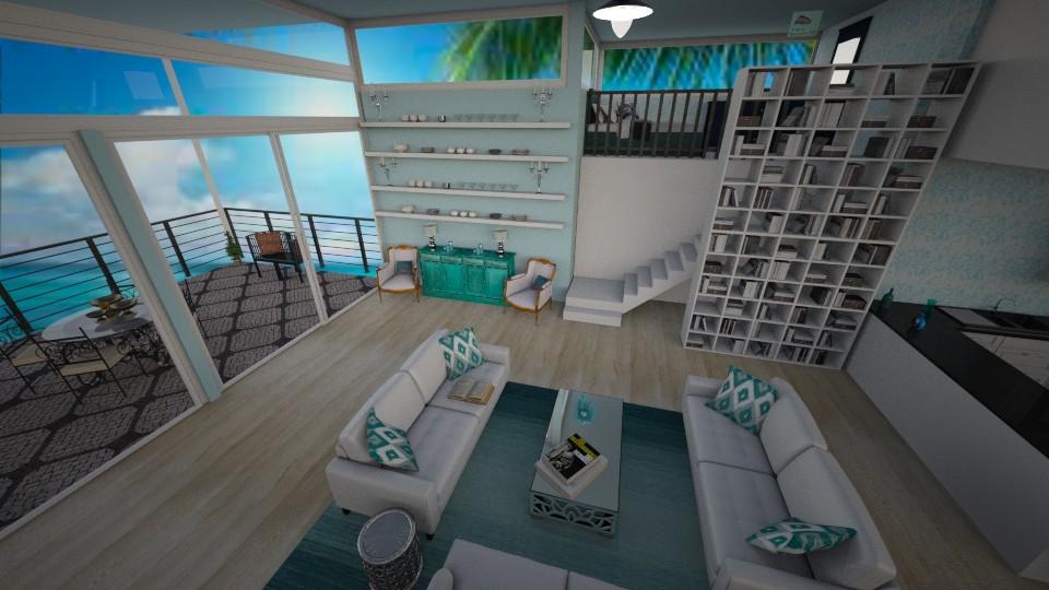 blue loft - Living room - by cdenton041793