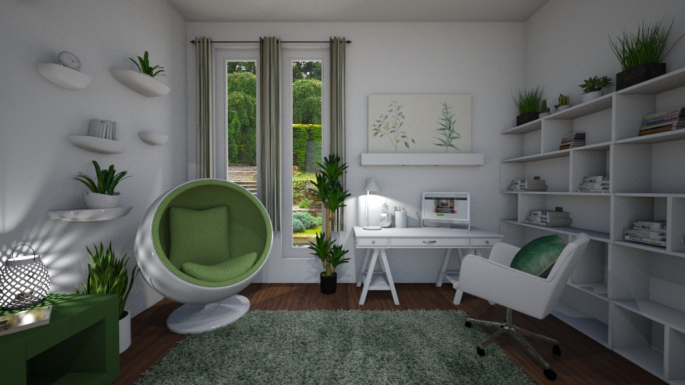 White and green office - Office - by evelyn19