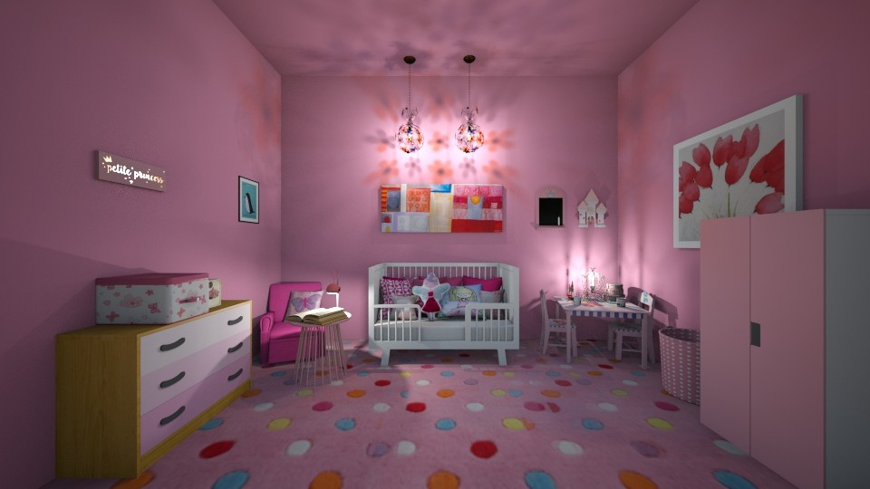 Pink Nursery - Bedroom - by beautiful luxury winter decoration
