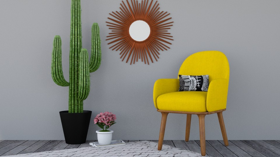 yellow cactus - Living room - by silent scream