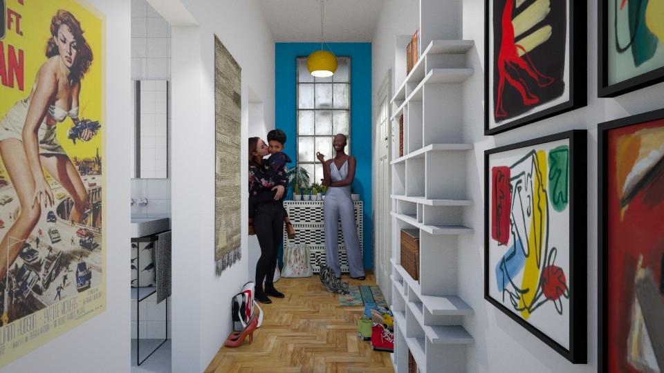 Family in hallway of European apartment - by RHD