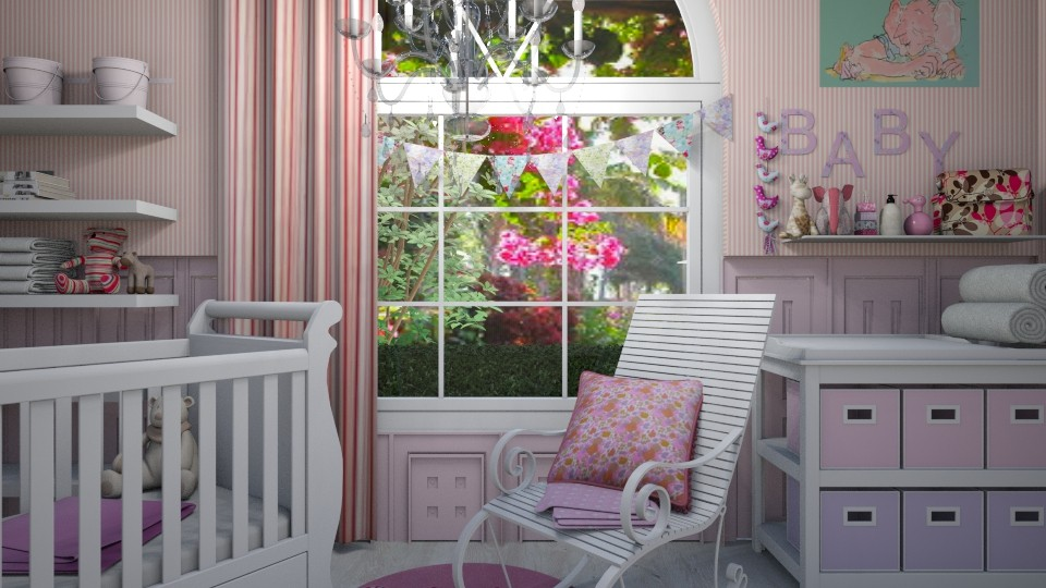 pink nursery - Feminine - Kids room - by donella