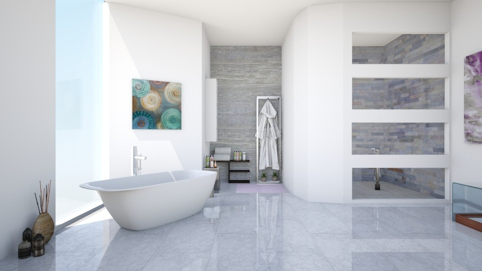 Marble bathroom - Bathroom - by shelleycanuck