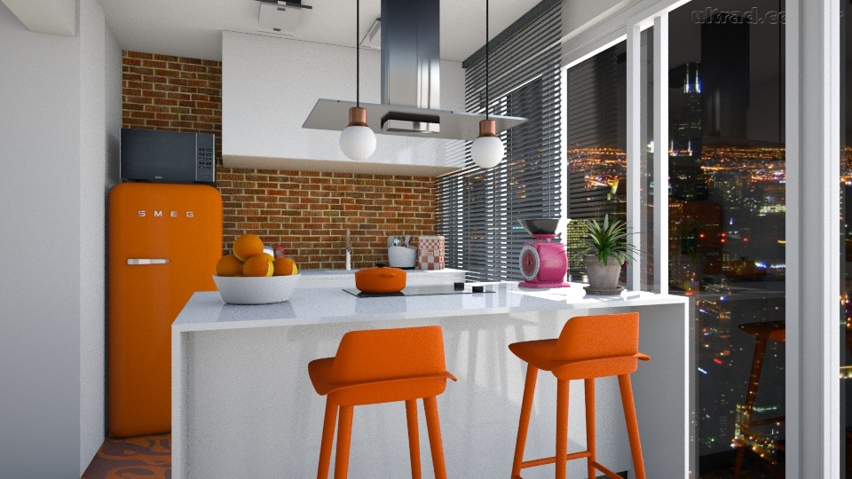 cozinha laranja - Kitchen  - by Tainaraa