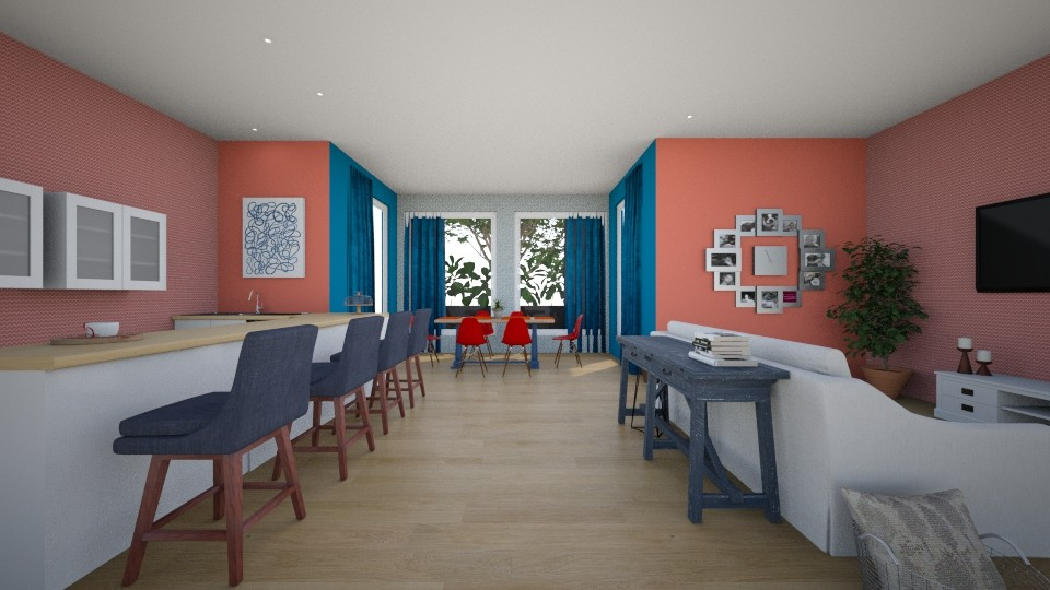 Red and Blue - Dining room - by guineapiglover1