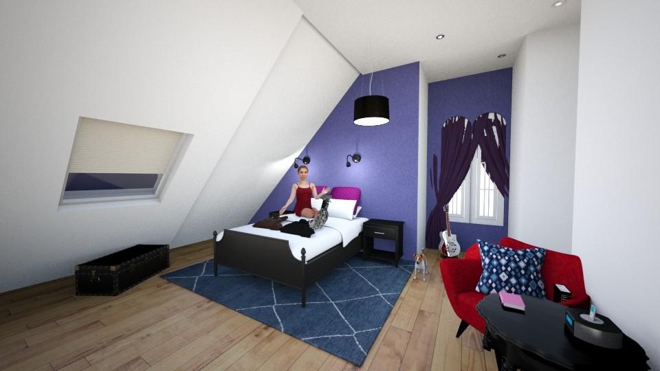 Purple attick bedroom - Bedroom - by Mia Joami