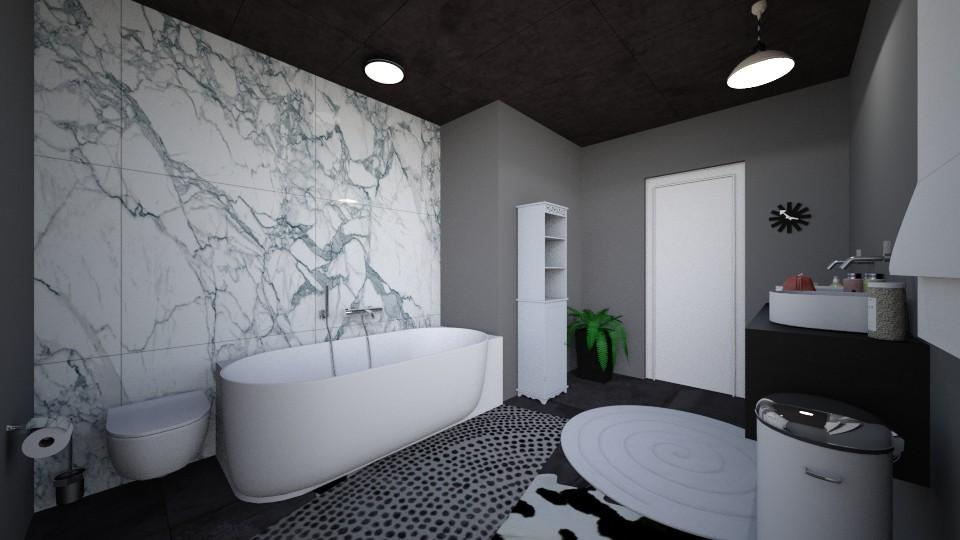 marble bathrom - Minimal - Bathroom  - by moocowqueen005