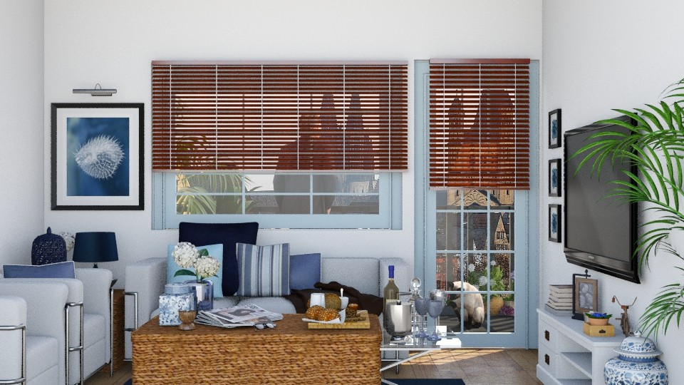 Blue living room - Living room - by Catarinatsimoes