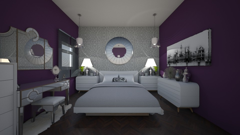 Purple and Silver Bedroom - Eclectic - Bedroom - by SDFDesigns