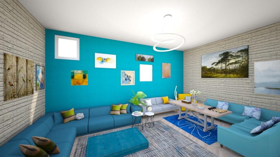 Blue living room - Rustic - Living room - by gefenkl
