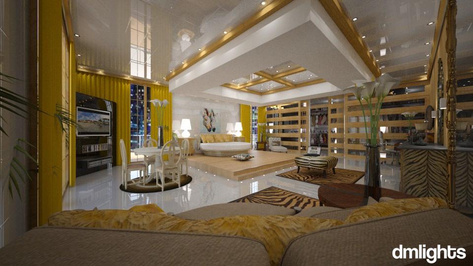 Quarto  Dourado - Bedroom - by DMLights-user-994540