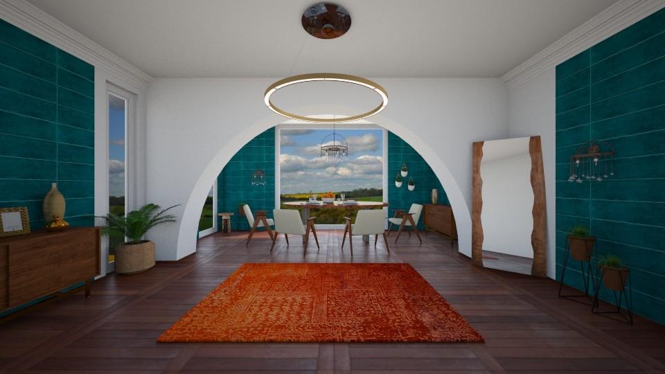 BLUE AND ORANGE - Dining room - by Jadee_