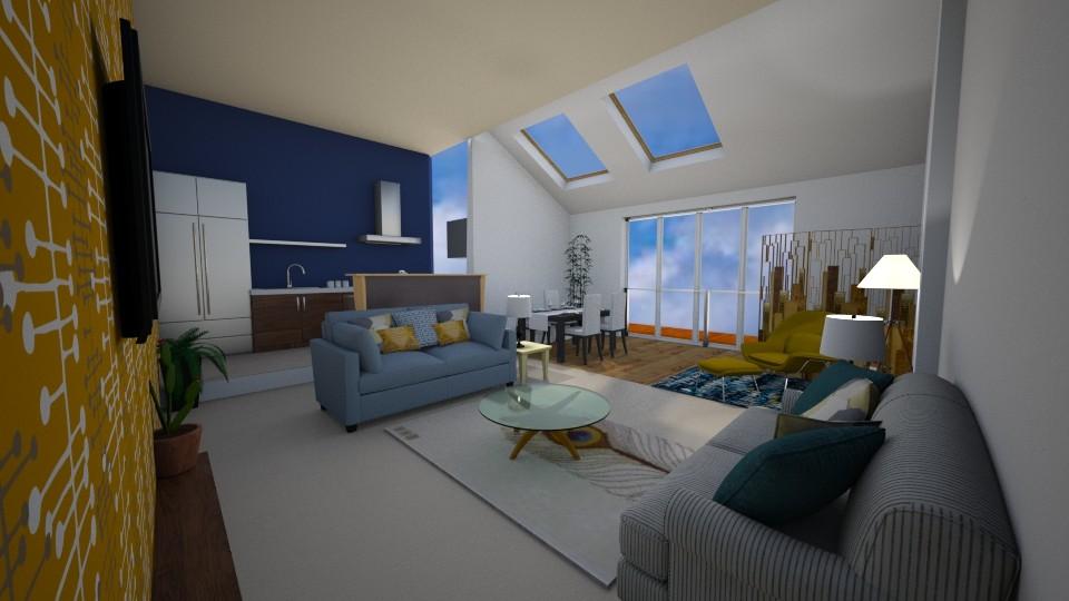 Mid Century Modern Apar - Living room - by Interiors by Elaine