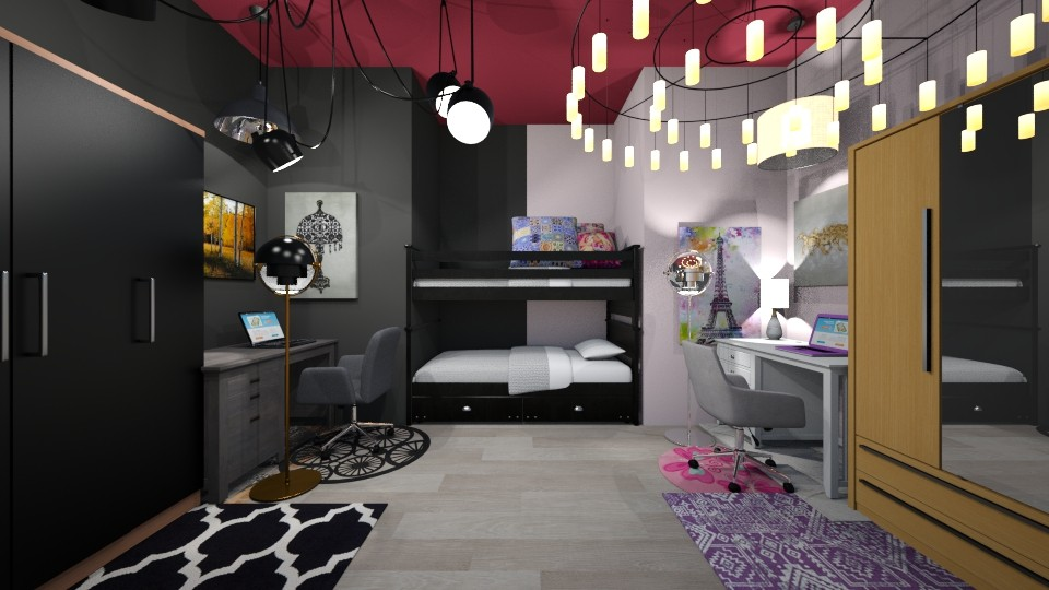 teenage twin bedroom - Bedroom - by the ice magical unicorn