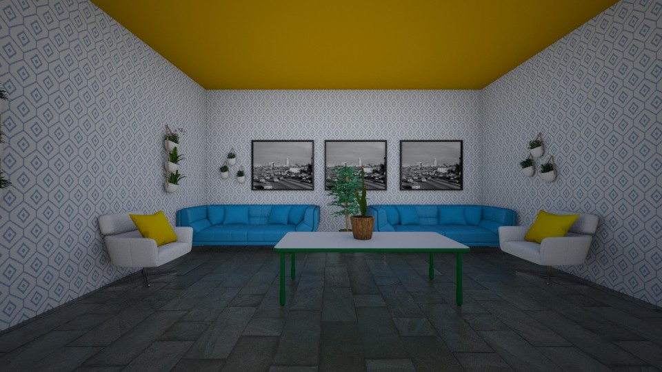 BlueYellowGreenLiving - Living room - by Alexstar1234